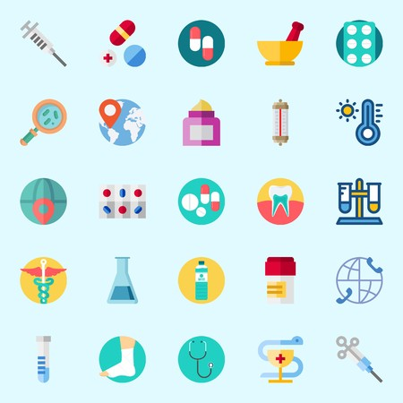 Icons about Medical with mortar, location, loupe, tablets, cream and sprain