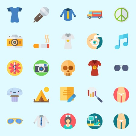 Icons set about Hippies with search, note, skull, sunglasses, pacifism and photo camera