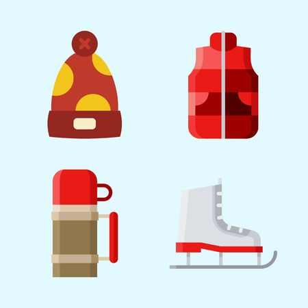 Icons set about Winter with vest, thermo, ice skate and winter hat