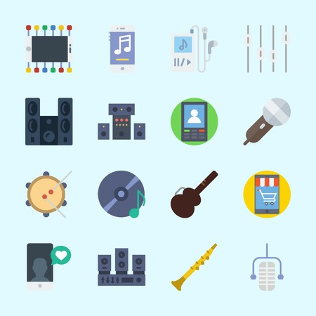 Icons about Music with levels, sound system, microphone, smartphone, compact disc and oboe Illustration