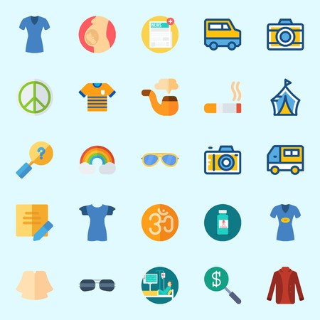 Icons set about Hippies with search, om, patient, sunglasses, smoking and photo camera Illustration