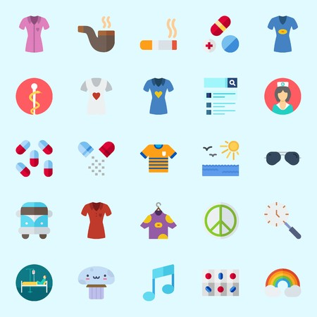 Icons set about Hippies with nurse, pill, note, pacifism, pharmacy and shirt