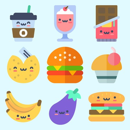 Icons set about Food with milkshake, bananas, fortune cookie, coffee cup, eggplant and cupcake