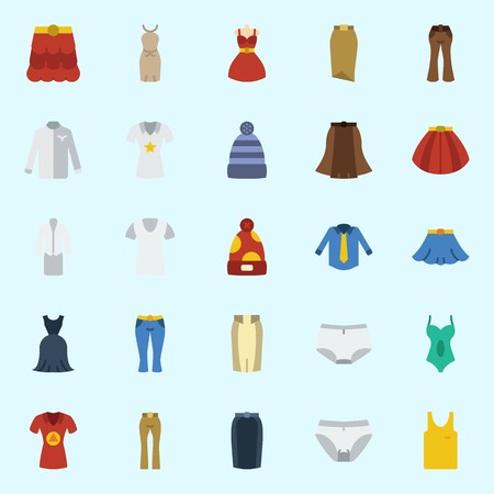 Icons set about Women Clothes with shirt, pants, sleeveless, suit, swimsuit and skirt