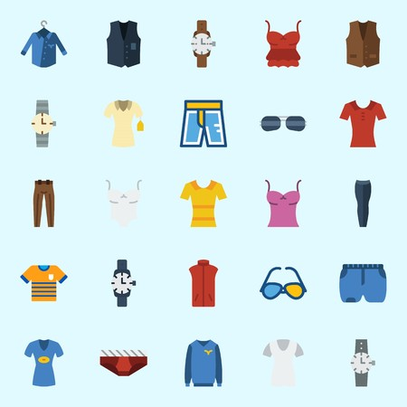 Icons set about Man Clothes with sweater, watch, underwear, sunglasses, vest and trousers Illustration