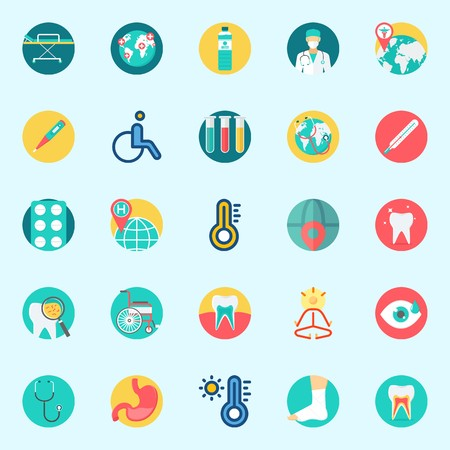 Icons set about Medical with stethoscope, visibility, yoga, water, test tubes and tablets