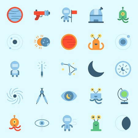 Icons set about Universe with moon, astrology, compass, constellation, planet and alien