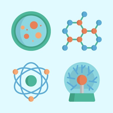 Icons about Science with petri dish, atom, plasma ball and chemical Ilustração