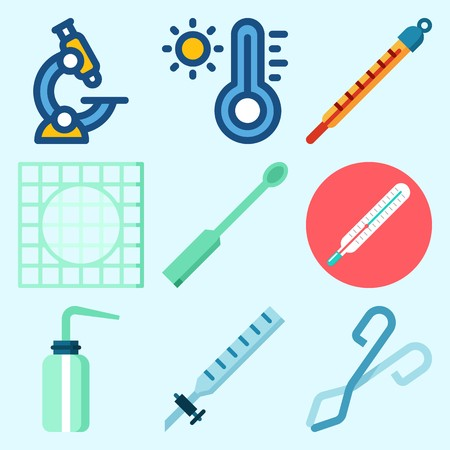 Icons set about Laboratory with kipp's apparatus, thermometer, desiccator, ladle, lab and microscope