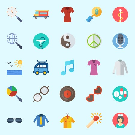 Icons set about Hippies with shirt, vinyl, pharmacy, yin-yang, microphone and search
