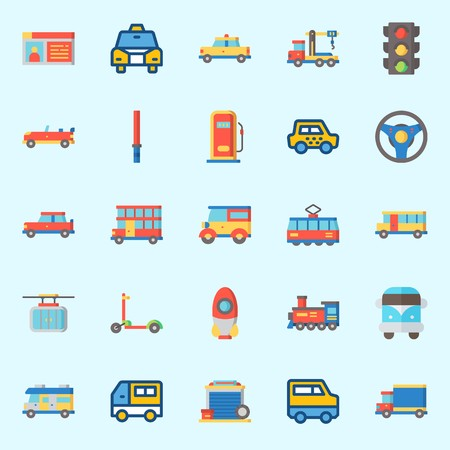 Icons about Transportation with stick, tram, scooter, cable car, bus and car