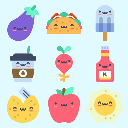 Icons set about Food with apple, fried egg, fortune cookie, coffee cup, ketchup and radish