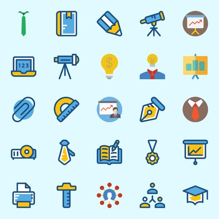 Icons set about School And Education with projector, open book, protractor, notebook, pen and idea Stock Illustratie
