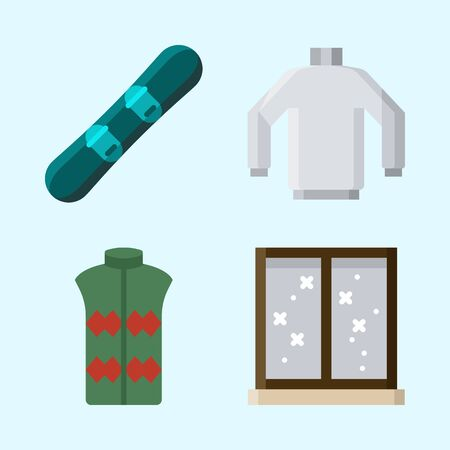 Pictogrammen ingesteld over de winter met snowboard, vest, trui en raam Stock Illustratie