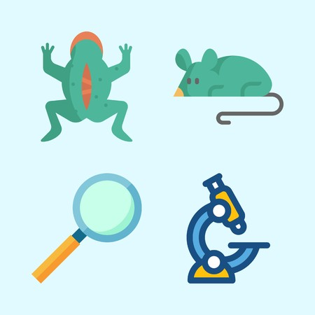 Icons about Science with microscope, vivisection, loupe and mouse