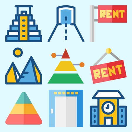 Icons set about Construction with for rent, elevator, pyramid, tunnel, school and pyramids