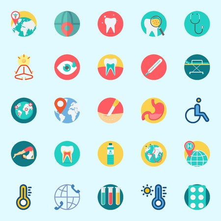 Icons set about Medical with stethoscope, stretcher, visibility, test tubes, thermometer and tooth Illustration
