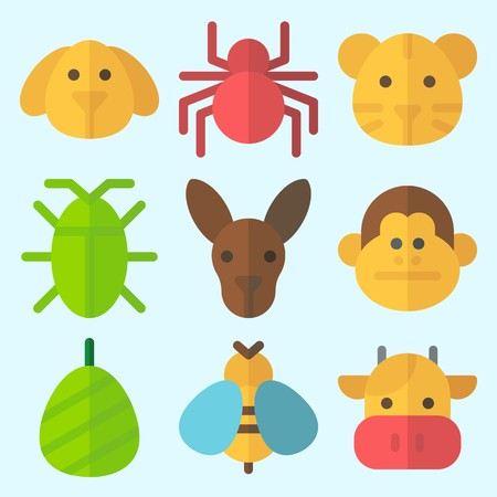 Icons set about Animals with tiger, cocoon, kangaroo, spider, wasp and cow Çizim