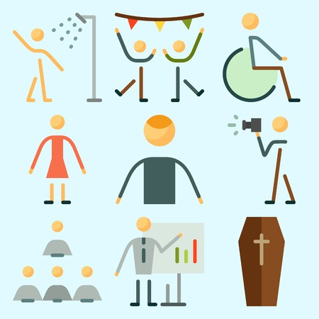 Icons set about Human with ceo, humans, whiteboard, dancing, disable and photographer Иллюстрация