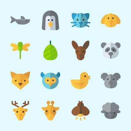 Icons about Animals with kangaroo, koala, sheep, dog, panda and chicken Çizim