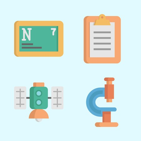 Icons about Science with satellite, notepad, microscope and nitrogen Stock Illustratie