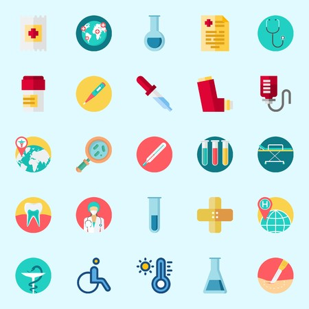 Icons about Medical with drob counter, inhaler, surgery, stethoscope, thermometer and loupe