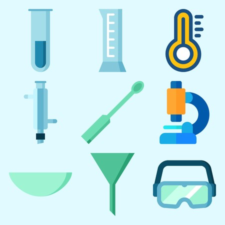 Icons set about Laboratory with watch glass, thermometer, funnel, condenser, cylinder and microscope