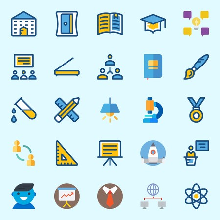 Icons set about School And Education with tie, mortarboard, school, lecture, user and idea Stock Illustratie