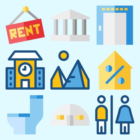 Icons set about Construction with elevator, real estate, pyramids, for rent, toilet and percentage