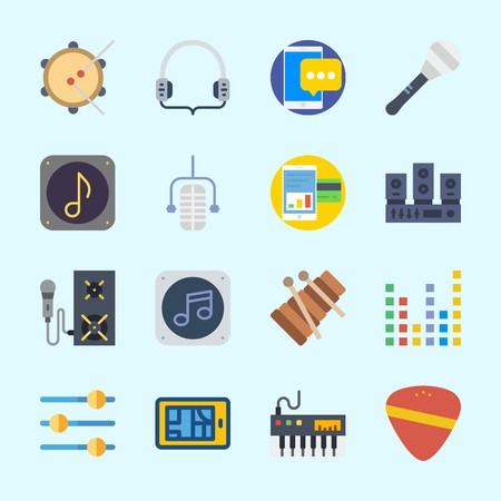 Icons about Music with speaker, guitar pick, tambourine, music file, xylophone and microphone