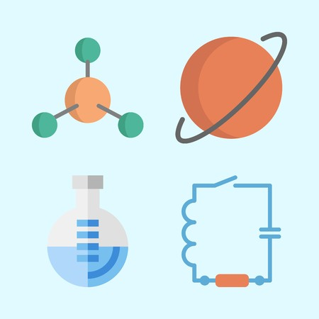 Icons about Science with planet, atom, wiring and flask Illustration