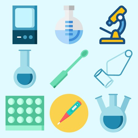 Icons set about Laboratory with flask, separator funnel, lab, tube, test tube and microscope Vettoriali