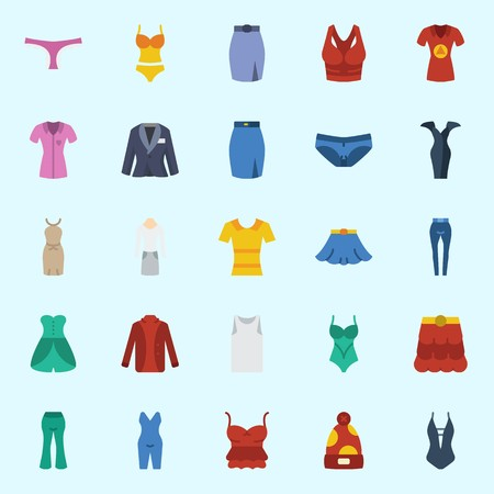 Icons set about Women Clothes with pijamas, shirt, swimsuit, skirt, winter hat and sleeveless Illustration