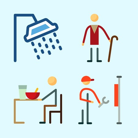 Icons set about Human with elder, reperation, shower, eather and repereter