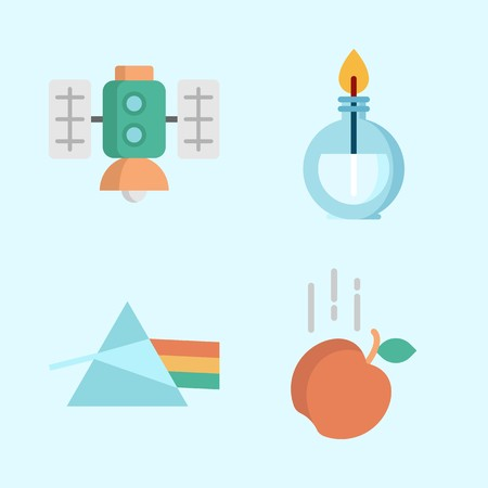 Icons about Science with gravity, satellite, burner and refraction