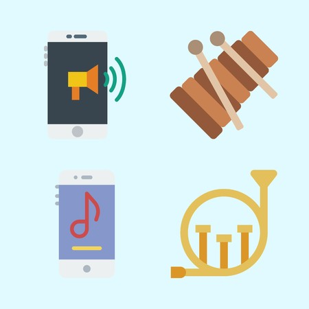 Icons set about Music with music player, french horn, xylophone and smartphone