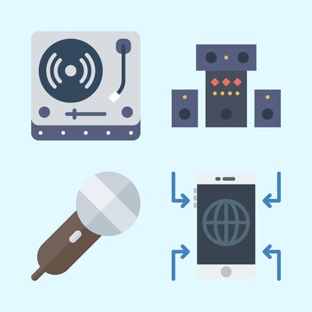 Icons set about Music with microphone, sound system, smartphone and turntable Çizim