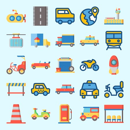 Icons set about Transportation with rocket, truck, submarine, plane, bike and taxi