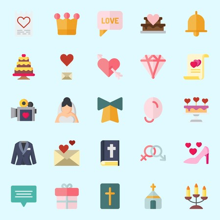 Icons set about Wedding with cupid, love letter, crown, diamond, high hell and gift