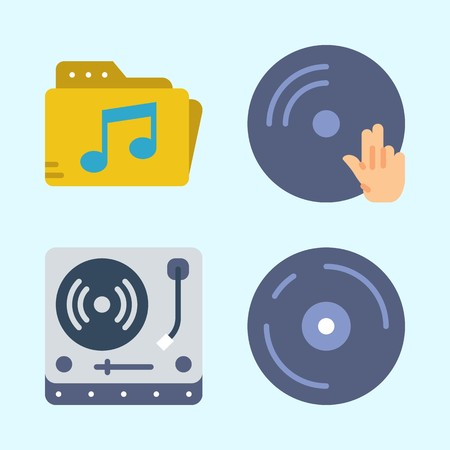 Icons set about Music with disc jockey, cd, music folder, compact disc, dj and turntable
