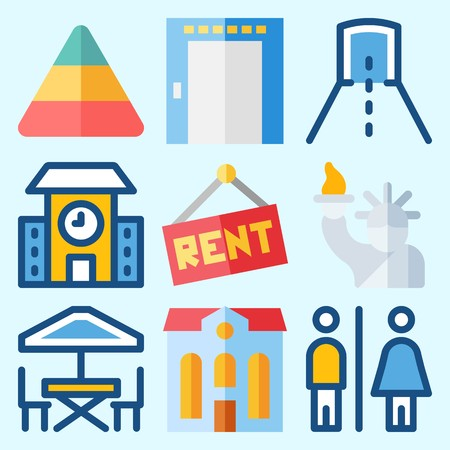 Icons set about Construction with tunnel, terrace, school, toilet, pyramid and elevator