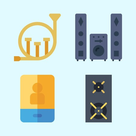Icons set about Music with speaker, announcer, french horn, smartphone and sound system
