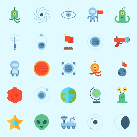 Icons set about Universe with alien, mars, blaster, astronaut, meteorite and black hole
