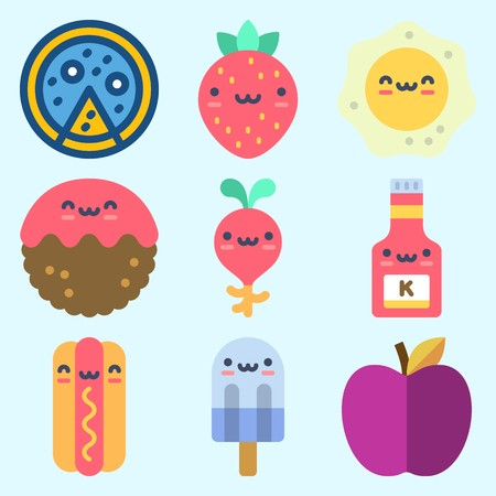 Icons set about Food with radish, fried egg, meatball, hot dog, strawberry and ice cream