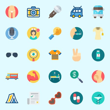 Icons set about Hippies with nurse, shirt, van, pills, slim and sunglasses