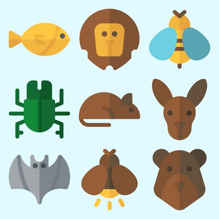 Icons set about Animals with kangaroo, firefly, lion, bear, bat and beetle