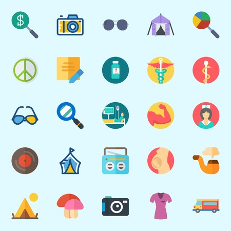 Icons set about Hippies with shirt, muscle, nurse, mushroom, pharmacy and photo camera Illustration