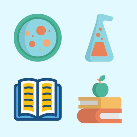 Icons about Science with books, petri dish, open book and flask