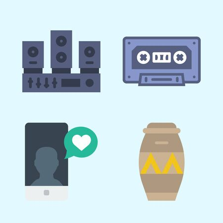 Icons set about Music with drum, sound system, smartphone and cassette