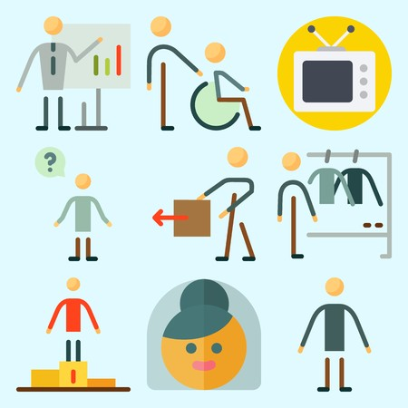 Icons set about Human with question, man, bride, fashion, whiteboard and television Иллюстрация